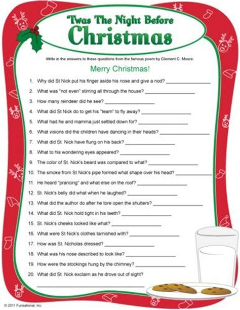 printable christmas games and quizzes twas the night before christmas christmas trivia