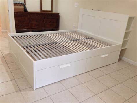 brimnes storage bed with lonset slats and wall attachment