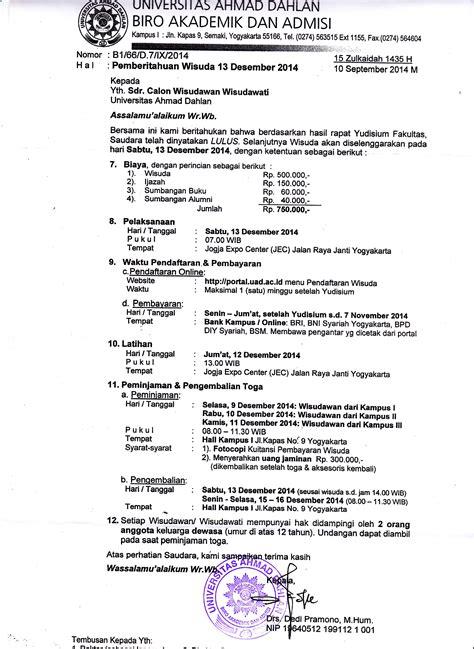 pemberitahuan tentang wisuda uad 13 desember 2014