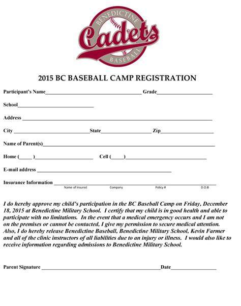 baseball registration form template news events benedictine school