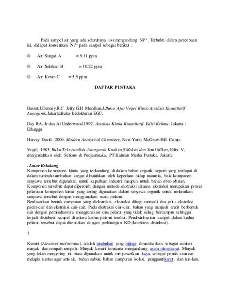 Analisis Kimia Kuantitatif Edisi Keenam Byr A Day Jralunderwood laporan ekstraksi pelarut
