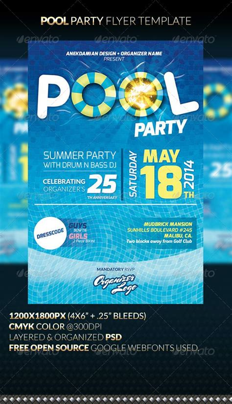 Pool Party Flyer Template Party Events Fonts And Flyer Template Celebration Flyer Template Free