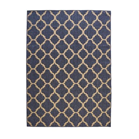 Hton Bay Trellis Reversible Cape Cod Blue 7 Ft 5 In X Hton Bay Outdoor Rugs