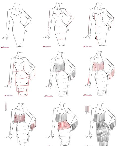 drawing a pattern for dress a step by step tutorial on how to draw fringe dress
