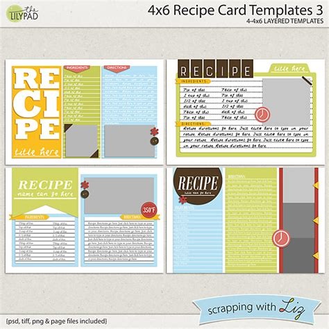Digital Card Templates by Digital Scrapbook Templates 4x6 Recipe Card 3