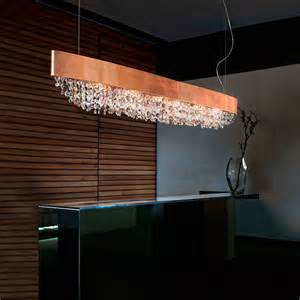 Coloured Glass Chandelier Long Oval Copper Leaf Contemporary Chandelier