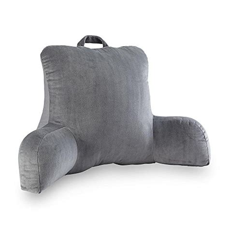 posture pillow for bed velour gray bedrest reading posture arm pillow soft back