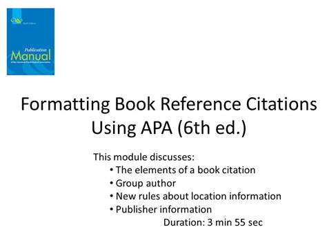 book reference location formatting book reference citations using apa 6th ed