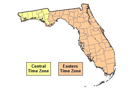 florida time zone map current time in florida