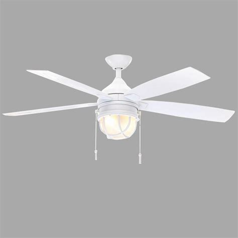 white ceiling fan hton bay seaport 52 in indoor outdoor white ceiling