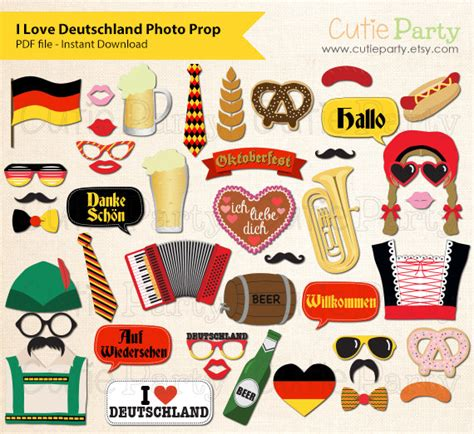 free printable oktoberfest photo booth props germany theme party photo booth prop deutschland theme party