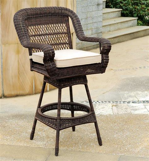outdoor wicker bar stools swivel south sea rattan montego bay wicker cushion arm swivel