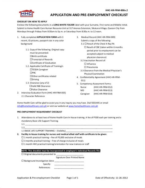 4 pre employment checklist sles templates word pdf