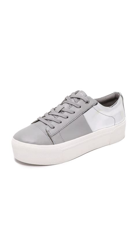 dkny platform sneakers dkny bari platform lace up sneakers in gray lyst