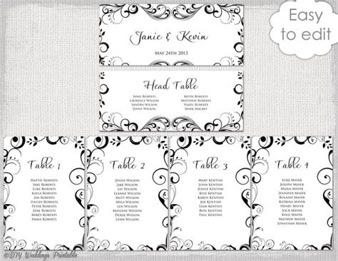 table plan cards template wedding seating chart template black and white