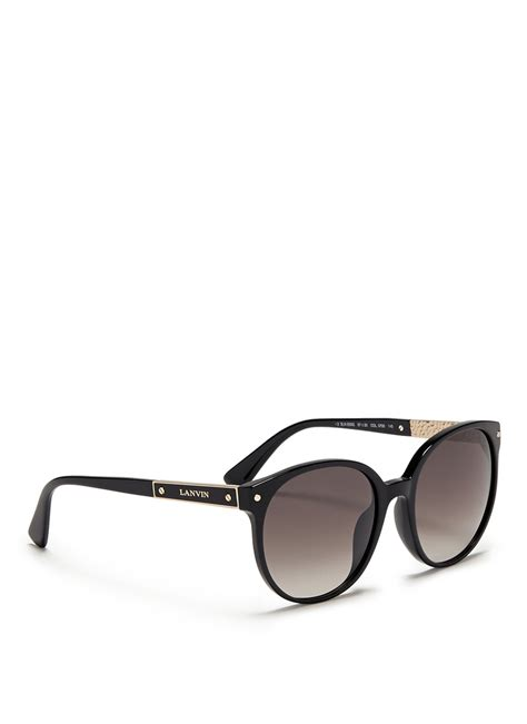 Acetatemetal Logo Sunglasses by Lyst Lanvin Logo Metal Temple Bar Acetate Sunglasses In