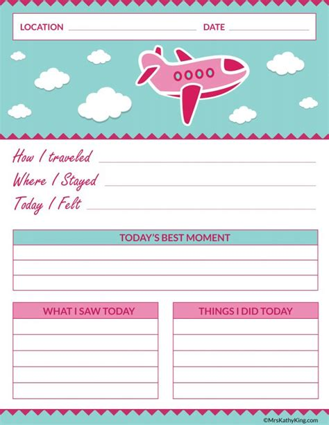 printable vacation journal girls printable travel journal familytravel mrs kathy king