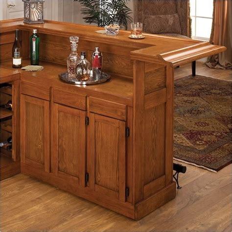 Oak Home Bar Bowery Hill Large Oak Wrap Around Home Bar Bh 9510