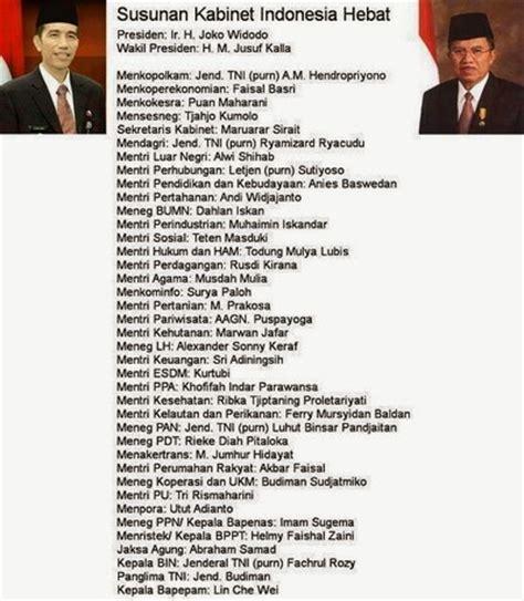 profil kabinet jokowi lengkap susunan menteri kabinet jokowi jk cb magazine