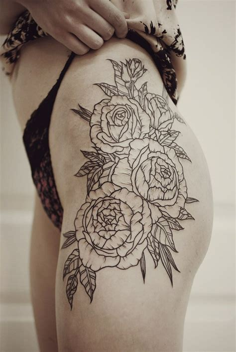 tattoo flower rose cool black contour rose flowers tattoo on thigh