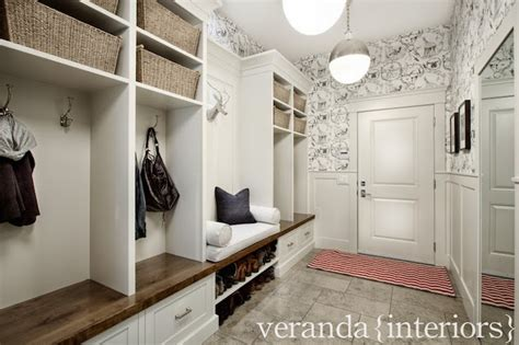 veranda interiors mudroom wainscoting transitional laundry room