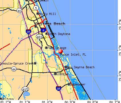 inlet florida map ponce inlet florida fl 32127 profile population maps
