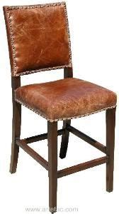 Distressed Leather Bar Stools by