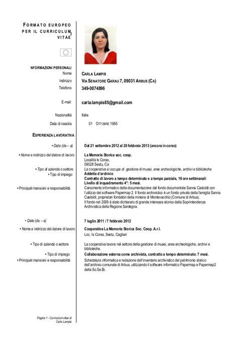 Modelo Curriculum Vitae Europeo Da Compilare Curriculum Vitae Da Compilare Curriculum Vitae Europeo I Started