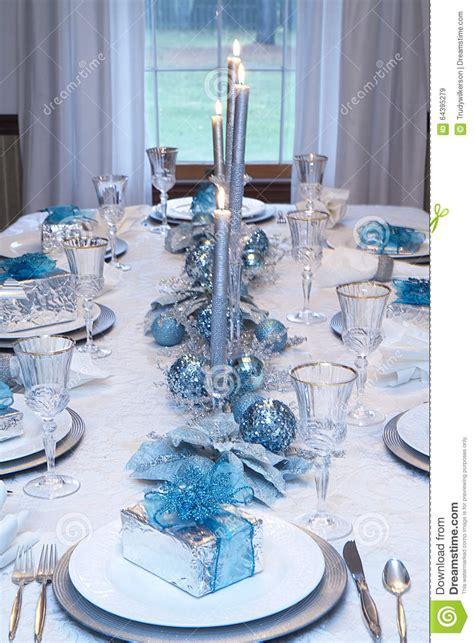 christmas holiday table setting blue white stock image