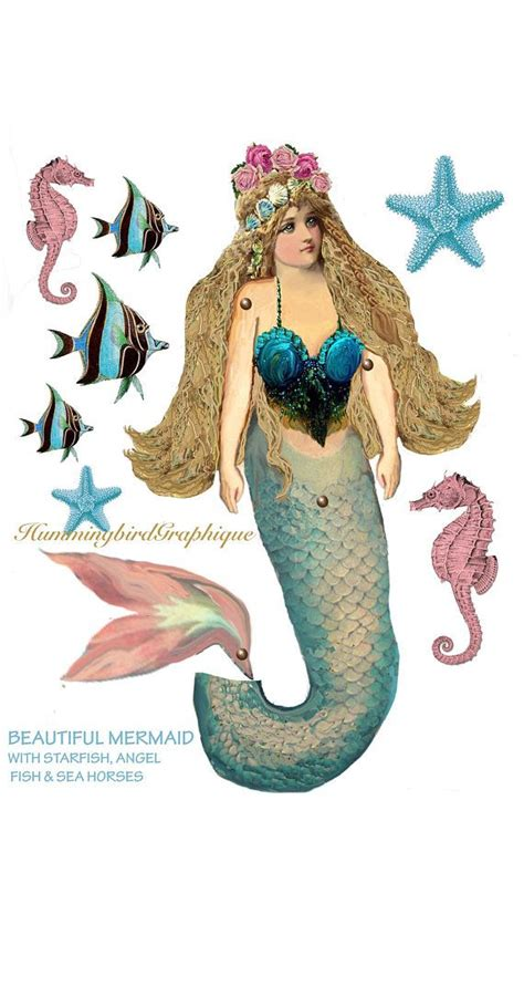printable mermaid shabby victorian fantasy articulated