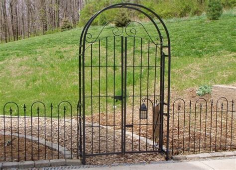Garden Arbor With Gate Wrought Iron Wrought Iron 6 Arbor Gate Combo