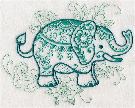 henna tattoo embroidery designs mehndi elephant design l4617 from www emblibrary
