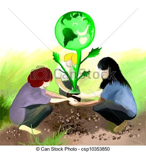 Plantation Home Plans stock illustrations of planting earth tree three teens
