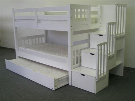 Bedz King Twin Over Twin Stairway Bunk Bed With Twin Stairway Bunk Bed
