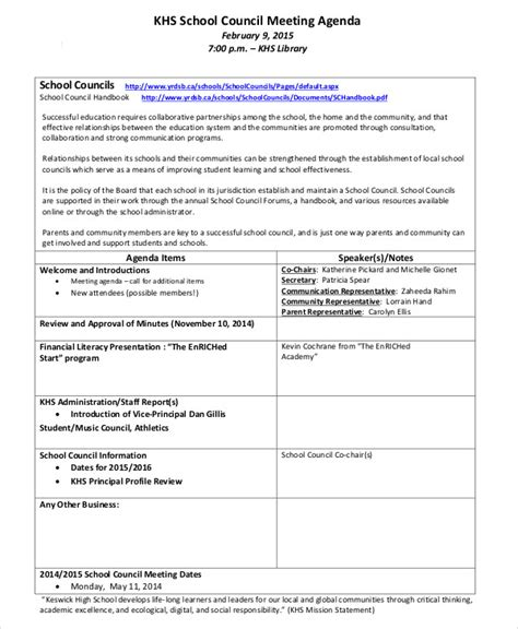 staff meeting agenda template example generic ideal likeness
