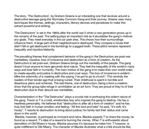 The Destructors Essay by Essay The Destructors Graham Greene The Destructors Graham Greene Study Guide Chapter