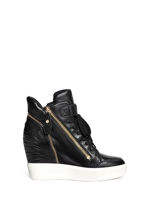 wedge sneakers black lyst ash alfa embossed ribcage leather wedge sneakers