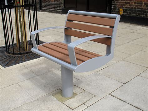 one person bench zenith 174 seat timber and steel public space seating
