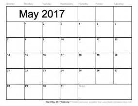 Calendar Of May May 2017 Calendar Printable Template Usa Holidays