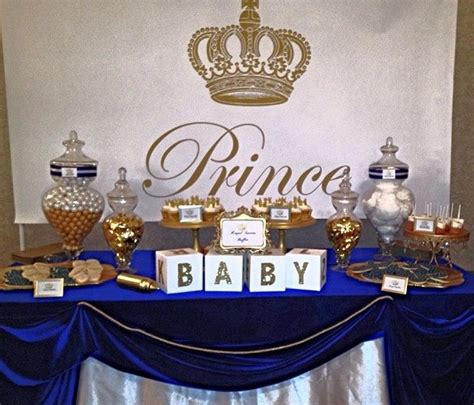 Royalty Themed Baby Shower by Royal Prince Baby Shower White Baby Showers Blue Gold