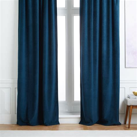 regal drapes worn velvet curtain regal blue west elm ca
