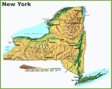 map of the us new york new york physical map