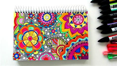 colorful drawings draw a colourful zen pattern time lapse