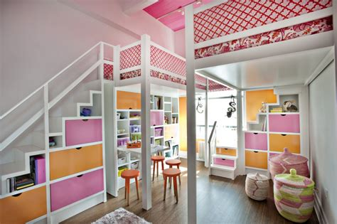 best teenage bedrooms ever pink and orange lofted girls room project nursery