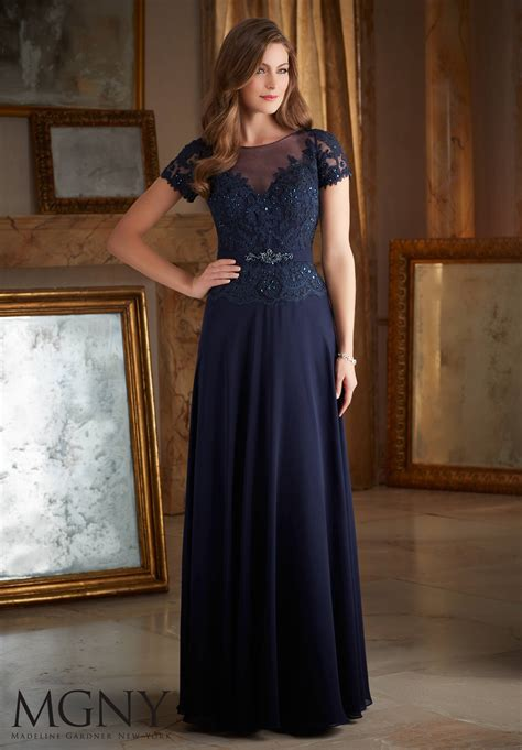 beaded lace appliques  chiffon evening dress style