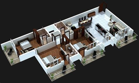 home design 3d 3 bhk 3 bedroom house plans 3d design 4 house design ideas