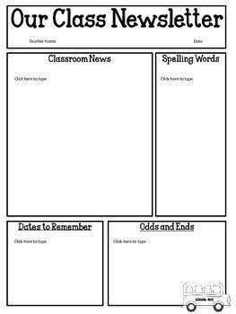 Classroom Newsletter Template Best Business Template Free Editable Newsletter Templates For Teachers