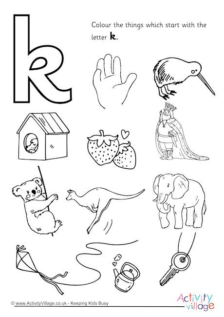 color starts with k start with the letter k colouring page