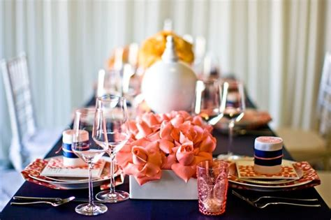 Picture Of Navy And A Blush Of Coral Wedding Color Palette
