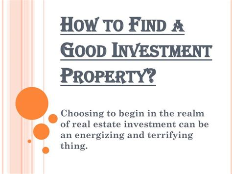how to buy a house for investment ppt steps to find a good investment property powerpoint
